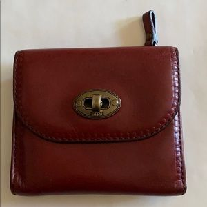 Fossil Vintage Trifold Red Leather Wallet
